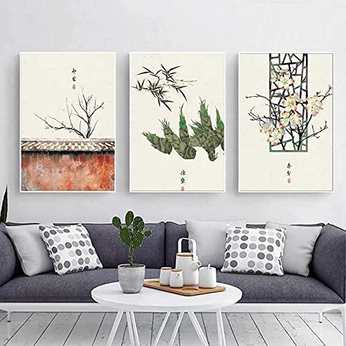 Dipinti su tela cinesi Termini solari classici tradizionali Paesaggio del festival Murale Soggiorno Vernici Pittura antica-40x60cmX3 Frameless