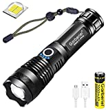 LED Torch XHP50 Super Bright 4000 Lumens, USB Rechargeable 5 Modes Zoomable Waterproof