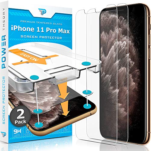 Power Theory Screen Protector for iPhone 11 Pro Max [2-Pack] with Easy Install Kit [Premium Tempered Glass for iPhone 11 ProMax]