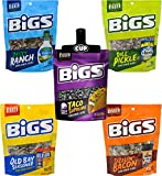 BIGS Sunflower Seed 5 Flavor Variety, 5.35 Ounce of Each, Taco Bell, Vlasic Dill, Hidden Valley, Old Bay, Sizzling Bacon with By The Cup Bag Clip