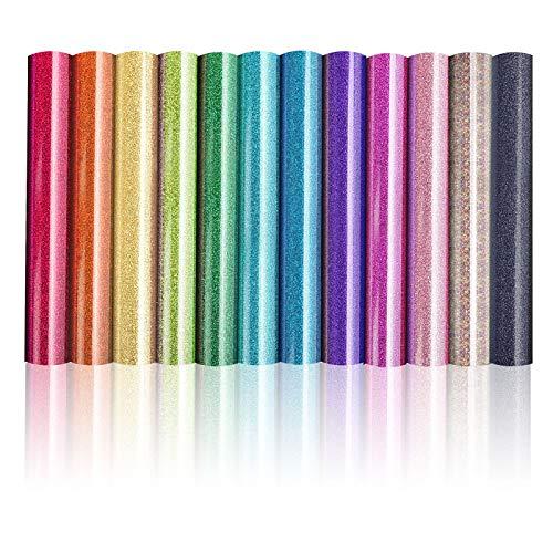 Jodimitty 12 Pack Vinylfolie Plotter Plotterfolie Textil, DIY Textil Folie im Set Vinyl zum Plotten, Wärmeübertragung Bastelfolie Vinyl Folie Klebefolien zum Basteln Selbstklebend(Regenbogenfarb)