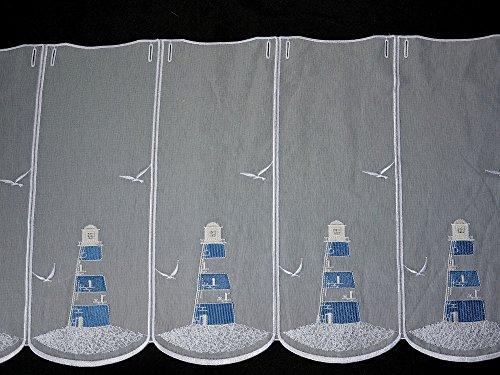 Scheibengardine Leuchtturm Bestickt blau Höhe 45cm oder 60cm | Breite der Gardine frei wählbar in 16cm Schritten | Gardine | Panneaux (Höhe 45cm)