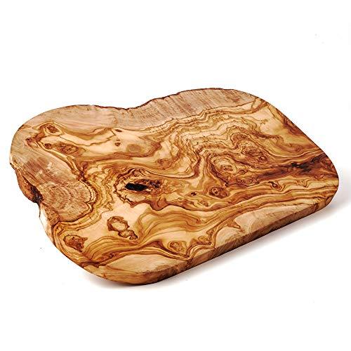das Olivenholzbrett, Schneidebrett Olivenholz, Brotzeitbrett aus Holz mit naturbelassenem Rand, 25 cm