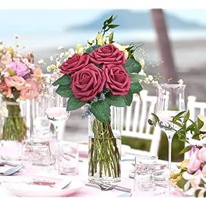 artificial flowers, 25 pcs faux flowers fake flowers cream roses perfect for diy wedding bouquets centerpieces bridal shower party home flower arrangement decorations grey silk flower arrangements