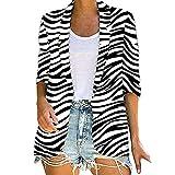 VJGOAL Blazer de Mujer Estampado de Leopardo Cebra Trajes de Manga Larga Chaqueta Abrigo Señoras Oficina Casual Rebeca Abrigos Chaqueta de Fiesta