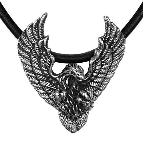 DonDon Collana in Cuoio Pelle da Uomo 50 cm Ciondolo a Forma di Aquila in Acciaio Inossidabile Contenuto in Sacchetto