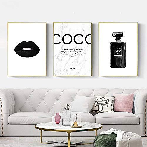 Cartel de moda Botella de perfume Pintura en lienzo Arte de pared en blanco y negro Impresiones de labios Impresión de labios Vogue Cuadros de pared Decoración para sala de estar - 30x40cmx3 Sin marco
