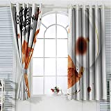 hengshu Coffee Art Living Room Curtains 2 Panel Sets Thinking Monkey Animal with Fun Lettering and Inverted Coffee Cup Home Decor Blackout Curtains W52 x L45 Inch Burnt Sienna Black White