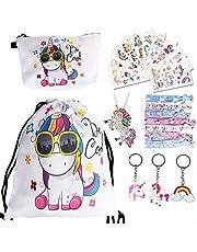 URAQT Eenhoorn koord tas set, 23 stuks eenhoorn geschenken voor meisjes, eenhoorn party gunsten tas vulstoffen voor kinderen, inclusief make-up tas, eenhoorn ketting, sleutelhanger, haarstropdas en tatoeage sticker