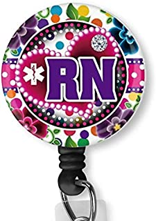 Gumball Garden Nurse RN Purple with Alligator Clip Nurse Badge ID Card Name Tag Custom Badge Holder Nurse Decorative Badge Reel Clip on Card Holders Badge Clip