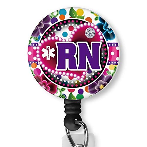 Gumball Garden Nurse RN Purple with Alligator Clip Nurse Badge ID Card Name Tag Custom Badge Holder Nurse Decorative Badge Reel Clip on Card Holders Badge Clip