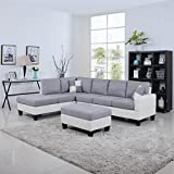 Classic Two Tone Large Linen Fabric and Bonded Leather Living Room Sectional Sofa...