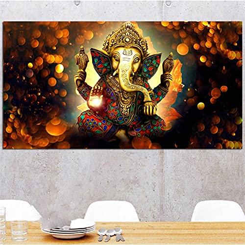 5D DIY Pintura Diamante Kits Completo Adultos/Niños Dios elefante Grande Diamond Painting Rhinestone Lienzo Bordado Punto de Cruz Arts Crafts, para decor de la pared del hogar Round drill,30x40cm