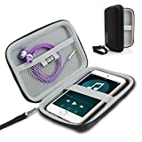 USA Gear Hard Shell iPod Travel Case Compatible with Apple iPod Touch (7th Generation, 6th Generation, 5th Generation), MP3 Player Case iPod Touch Bag with Water-Proof Exterior, Wrist Strap - Black