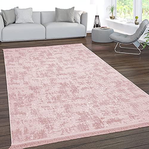 Paco Home Teppich Wohnzimmer Kurzflor Waschbar 3D Effekt Modernes Orientalisches Muster, Grösse:150x230 cm, Farbe:Rosa