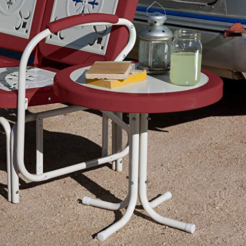 "Small Red Round Retro Metal Outdoor Patio Furniture Portable Accent Side End Table 22"" Diam. x 19.5"" H"