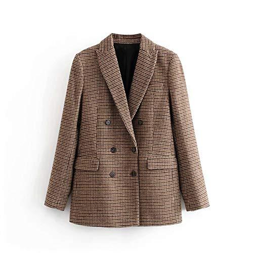 UUYUU Vintage Casual Plaid Blazer Mujer Moda Doble Pecho Oficina Abrigo Chaqueta Mujer Entrecruzado Cuello Manga Larga Trajes Blazer (Size : Small)