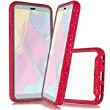 Customerfirst for LG STYLO 5 (Boost, Cricket, Sprint etc.) Full Body Rugged Crystal Clear Case Transparent View Dual Layer Enclosure Cover with Built in Screen Protector & TPU Bumper Frame (Pink)