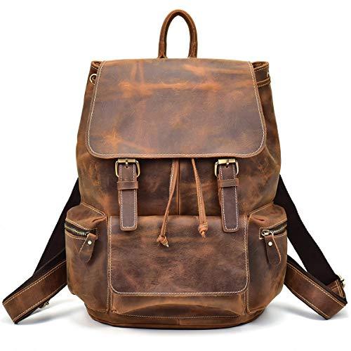 LUUFAN Herren Leder Rucksack Daypack Schule Satchel Reisen Schulter Laptop-Tasche (Brown 6)