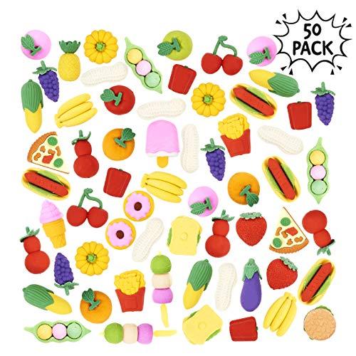THE TWIDDLERS 50er Radiergummi Essen & Fast Food Set für Kinder Schule - lustige Fastfood Radierer in 29 Verschiedenen Designs für stundenlangen Spaß und Lernen im Haus