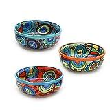 Gall&Zick Schale Set/3 Müslischale Dessertschale Schüssel Geschirr Keramik farbig bunt Dekoration Orange Grün Blau