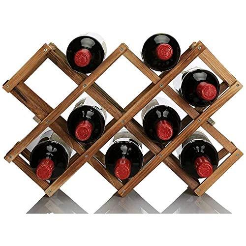 ZHANG Estante Vertical para Vinos Estante para Vino De Madera Almacenamiento para 10 Botellas Estante Independiente Plegable, 1 Pieza