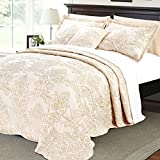 Serenta Damask 4 Piece Bedspread Set, Queen, Salmon