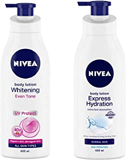 NIVEA Body Lotion, Whitening Even Tone UV Protect, 400ml and NIVEA Body Lotion, Express Hydration With Sea Minerals, 400ml