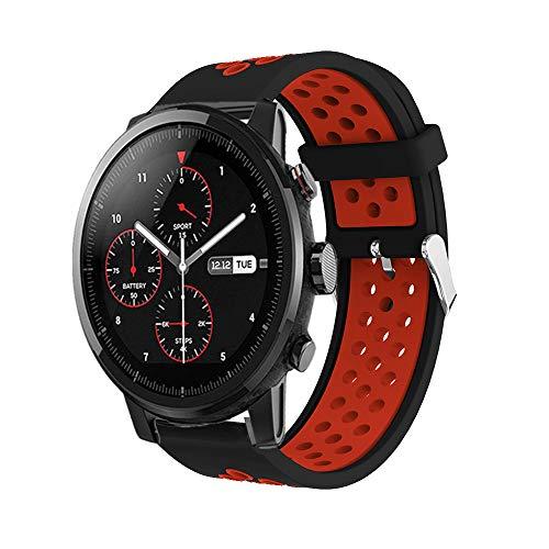 Saisiyiky Correa de Reloj Compatible con Amazfit Xiaomi Huami,22mm de Silicona Ajuste rápido Pulsera de Repuesto para Pulsera Deportiva Smart Watch (Rojo)