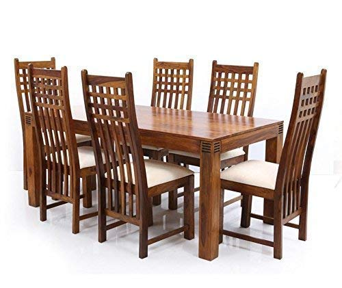 Gourav Furniture Sheesham Wood Dining Table 6 Seater Dinning Table With 6 Chairs Including Cushions Dining Room Furniture Natural Brown Amazon In Home Kitchen