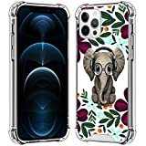 SAKUULO Clear Case Compatible with iPhone 12 Pro Max 6.7'' 2020, Flower Elephant [Anti-Yellowing] [Anti-Scratch] Shockproof Soft TPU Bumper with 4 Air Corners Protective Cover for iPhone 12 Pro Max
