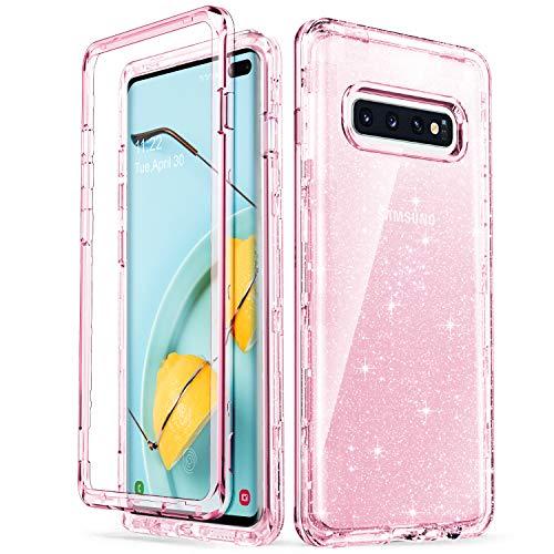 ULAK Funda Galaxy S10+, Estuche a Prueba de Golpes de Estuche Parachoques de Resistente Caso de protección Suave de TPU para Samsung Galaxy S10+/S10 Plus - Glitter Rosa