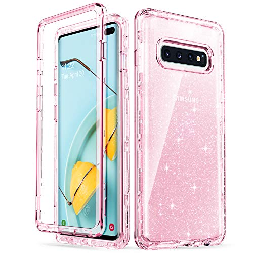 ULAK Galaxy S10 Plus Case, Pink Clear Shiny Glitter Heavy Duty Shockproof Protection Sparkle Bling Back Cover Transparent Soft TPU Protective Layer for Samsung Galaxy S10+ Plus 6.4 inch, Pink Glitter