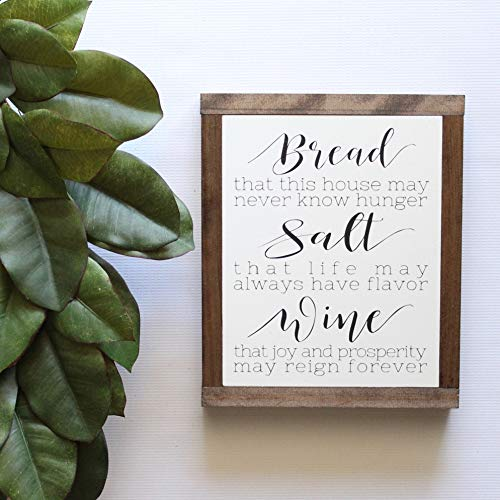 MaxwellYule Wood Sign Housewarming Gift Bread Salt and Wine Its A Wonderful Life QuoteFramed Wall Art Rustic Wood Signs Hand Painted Wood Sign