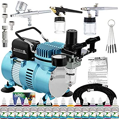 Master Airbrush Professional Airbrushing System Kit - 3 Airbrushes, 16 Color Water-Based Face & Body Art Paint Set, Cool Runner II Dual Fan Air Compressor - Washable Temporary Tattoo, How to Guide
