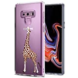 JAHOLAN Galaxy Note 9 Case Brown Cute Eating Giraffe Clear TPU Soft Slim Flexible Silicone Cover Phone case for Samsung Galaxy Note 9
