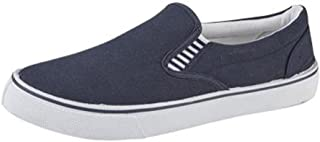 Mens Canvas Comfort Padded Slip ON Boat Deck Shoes Size 7-12 Navy