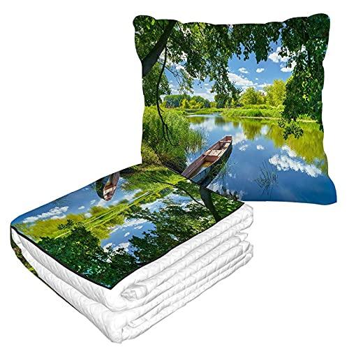 Narew River Boat Manta de viaje 2 en 1 árboles verdes hierba campestre Polonia hojas de agua manta de avión para el hogar sofá mullido franela oficina manta
