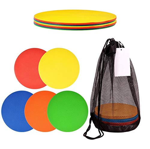 Little Polly Spot Markers 9 Inch Non Slip Rubber Agility Markers Flat Field Cones Floor Dots for Soccer Basketball Sports Speed Agility Training and Drills (10pcs)