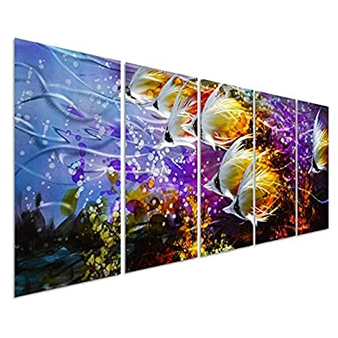 Colorful Tropical School of Fish Metal Wall Art Painting, Large Metal Wall Decor in Tropical Ocean Design, 3D Wall Art for Modern and Contemporary Décor, 5-Panels 24 x 64 , Perfect for Home