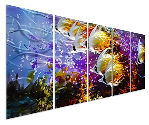 "Colorful Tropical School of Fish Metal Wall Art Painting, Large Metal Wall Decor in Tropical Ocean Design, 3D Wall Art for Modern and Contemporary Décor, 5-Panels 24""x 64"", Perfect for Home"