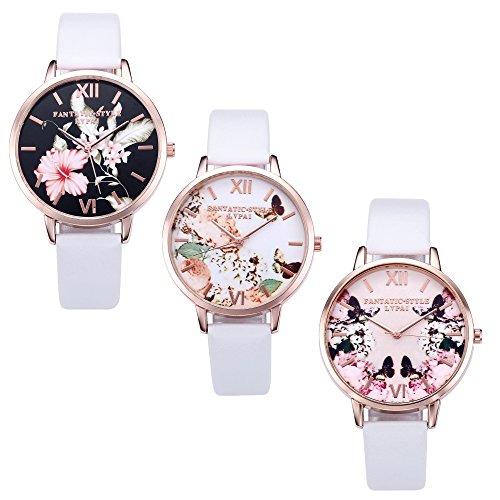 JSDDE Uhren,3er Set Vintage Blumen Armbanduhr Basel-Stil Damen Uhr Weiss PU Lederarmband Rosegold Analog Quarzuhr