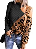 Happy Sailed Women's Long Sleeve Cold Shoulder Turtleneck Leopard Knit Sweater Tops Pullover Loose Jumper Sweaters Black S