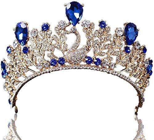 Plztou Hochzeit Kristall Strasssteine Brautstirnband Pageant Prinzessin Königin Krone (Farbe : Blau)