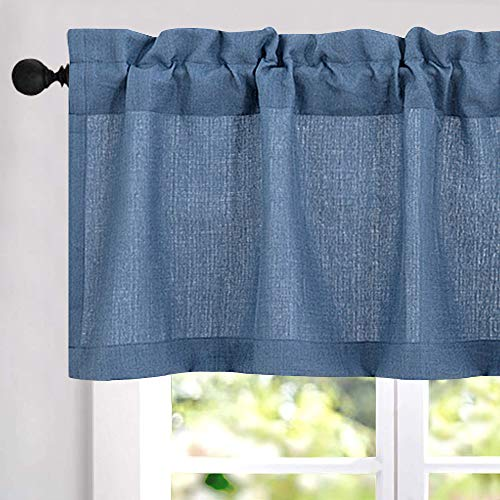 Casual Weave Tailored Valance Cafe Curtains Semi Sheer Kitchen Curtains Privacy Half Window Curtains (54-by-18 Inch, Blue, 1 Pc)