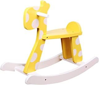 Rocking horse Children's Wooden Horse Toy Rocking Chair Birthday Gift Fashion Personality (Color : Yellow)
