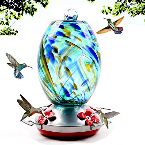 Garden Hummingbird Feeder with Perch - Hand Blown Glass - Blue - 25 Fluid Ounces Hummingbird Nectar Capacity Include Hanging Wires and Moat Hook (Blue Starry Night)
