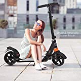 Hesyovy Lightweight Scooter T-Style Sturdy Aluminium Alloy Foldable Height Adjustable Big Wheel 195 mm Wheels City Scooter for Adults (Black)