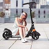 Hiriyt - Patinete ligero de aleación de aluminio, plegable y de altura regulable, ruedas grandes de 195 mm, para adultos, negro