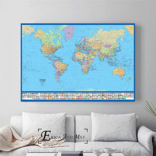 ganlanshu Hochauflösende Karte großes Plakat und Druckwanddekorationsmalerei auf Leinwandwohnheimdekoration,Rahmenlose Malerei-50X75cm
